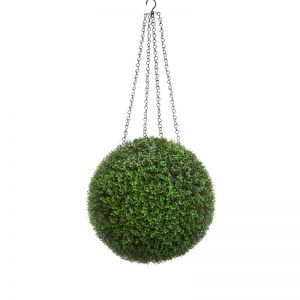 13in. Artificial Boxwood Hanging Sphere, Ornamental Long Grain, Outdoor Rated