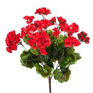 14in. Outdoor Artificial Geranium Bush - Red
