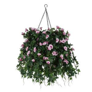 "14"" Hanging Basket with Artificial Morning Glory Flowers - 5 Colors"
