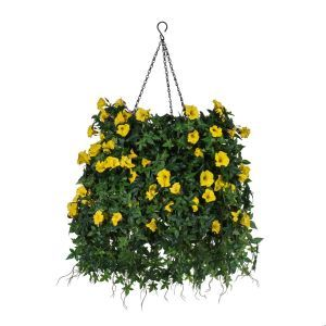 """14"""" Hanging Basket with Artificial Morning Glory Flowers - 4 Colors"""
