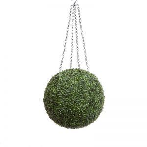 15in. Artificial Boxwood Hanging Sphere, Short Grain, Outdoor Rated