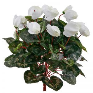 15in. Artificial Cyclamen Bush, Outdoor Rated -White