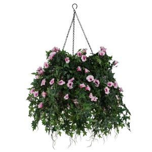 "16"" Hanging Basket with Artificial Morning Glory Flowers - 5 Colors"