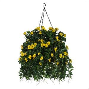 """16"""" Hanging Basket with Artificial Morning Glory Flowers - 4 Colors"""