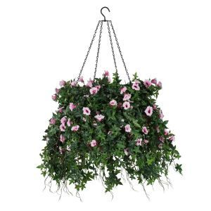 "22"" Hanging Basket with Artificial Morning Glory Flowers - 5 Colors"
