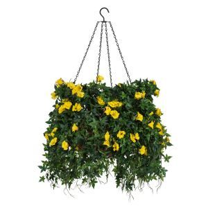 """18"""" Hanging Basket with Artificial Morning Glory Flowers - 4 Colors"""
