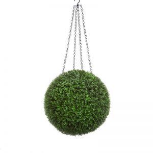 15in. Artificial Boxwood Hanging Sphere, Ornamental Long Grain, Outdoor Rated