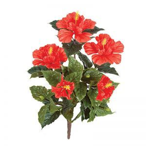 21in. Outdoor Artificial Hibiscus Bush - Red