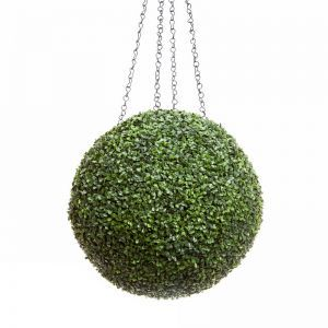 21in. Artificial Boxwood Hanging Sphere, Short Grain, Outdoor Rated