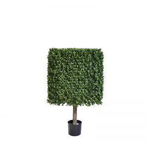 39in.H Duraleaf Boxwood Topiary Cube Tree in Weighted Base, Outdoor Rated
