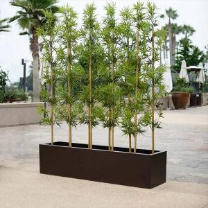 Artificial Bamboo Grove in Modern Fiberglass Planter