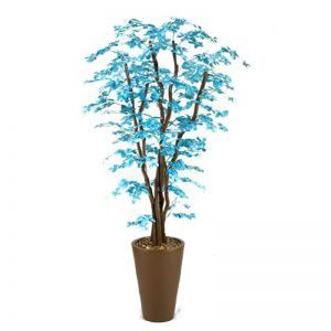 7' Blue/Brown Olive Tree in Round Resin Planter