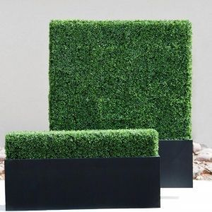 Boxwood Indoor Artificial Hedge in Modern Planter 60in.L x 12in.W