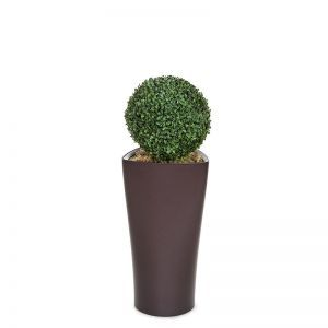 "Boxwood Topiary Sphere in Delta Triangle Planter 33"", Outdoor Rated"