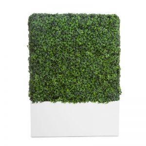 English Ivy Fire Retardant Artificial Hedge in Modern Planter 48in.L x 12in.W