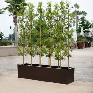 4'L Bamboo Indoor Artificial Grove in Modern Planter