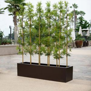4'L Bamboo Outdoor Artificial Grove in Modern Fiberglass Planter