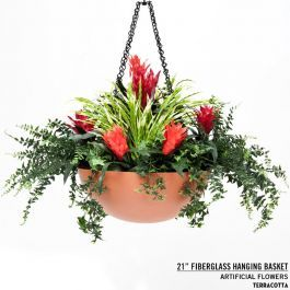 21 Fibergl Hanging Basket With