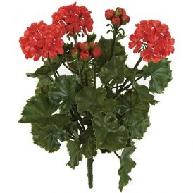 16in. Outdoor Artificial Geranium Bush - Red
