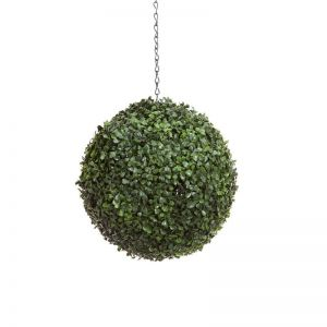 13in. Artificial Boxwood Hanging Sphere, Short Grain, Outdoor Rated