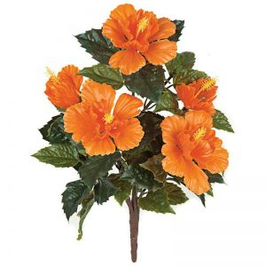 21in. Outdoor Artificial Hibiscus Bush - Orange