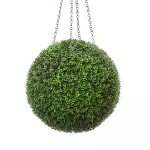 21in. Artificial Boxwood Hanging Sphere, Ornamental Long Grain, Outdoor Rated
