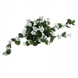 24in. Geranium Hanging Vine, Partial Exposure UV Rated - White