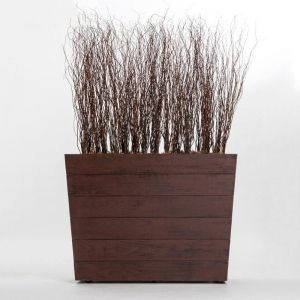 5'L x 6'H Curly Willow Screen in Madera Fiberglass Planter