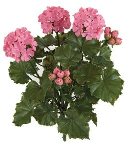 16in. Outdoor Artificial Geranium Bush - Pink