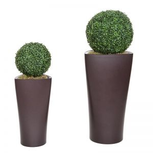 Boxwood Topiary Sphere in Delta Triangle Planter, Outdoor Rated