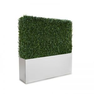 Duraleaf Boxwood Outdoor Artificial Hedge in Modern Fiberglass Planter 24inLx 12inW