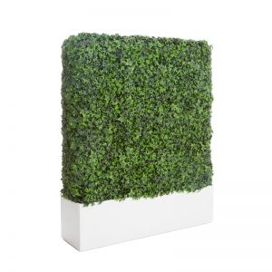 English Ivy Indoor Artificial Hedge with Modern Planter 96in.L x 12in.W