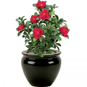 18in. Red Azalea Bush, Outdoor Artificial