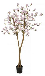 Artificial Flowering Magnolia Tree with Pink Blooms 79 inches Tall
