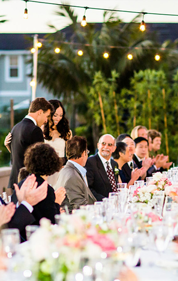 Artificial Bamboo Grove in the background of wedding venue